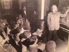 """Albert Einstein teaching a physics class at Lincoln University (HBCU in Pennsylvania) in 1946. The Nobel prize winning scientist said: """"The separation of the races is not a disease of colored people. It is a disease of white people. I do not intend to be quiet about it."""" Found on """"Afropunk"""" Facebook page, May 29, 2014.  https://www.facebook.com/afropunk/photos/a.93811151622.90220.47016231622/10152142585406623/?type=1&theater"""
