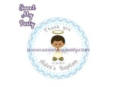 Boy Baptism stickers,Boy Christening thank you tags,(6)