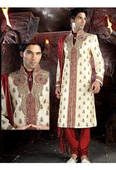 Indian Men Clothing Online: Buy Traditional Indian Outfits For Men at Utsav Fashion Mens Sherwani, Wedding Sherwani, Aladdin Wedding, Indian Groom Wear, Indian Dresses Online, Groom And Groomsmen Attire, Wedding Men, Wedding Ideas, Indian Outfits