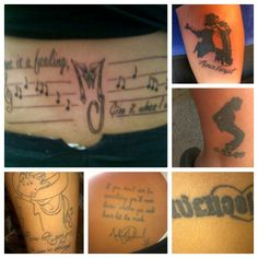 A collage of my michael jackson tattoos for Jackson name tattoo