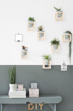 A DIY plant wall - Tanja van Hoogdalem - DIY plant holder by Tanja van Hoogdalem - White Planters, Diy Planters, Diy Interior, Interior Decorating, Interior Design, Decoration Entree, Diy Home Decor, Room Decor, House Plants Decor