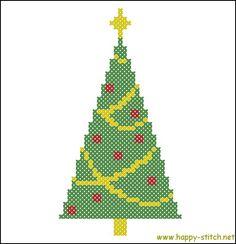 Very simple Christmas tree free cross stitch pattern