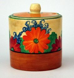 Clarice Cliff 'Gay day' hand-painted sugar bowl with lid