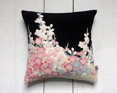 Decorative Pink and black Vintage Kimono Silk Fabric Cushion Pillow. Cherry blossom. Spring decor
