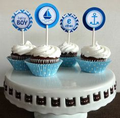 nautical decorations for baby shower | Nautical Cupcake Toppers - Baby Shower Decorations | Party
