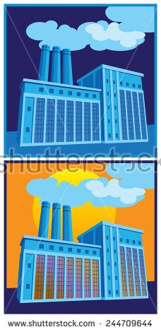 Stylized vector illustration on an industrial theme. production, factories and…
