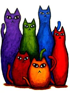 red cat...blue cat...green cat....orange cat.. good looking rainbow cats