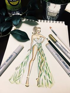 Fashion illustration by bee   Follow me on IG mrs_bee_rub Dress Design Sketches, Fashion Design Sketchbook, Fashion Design Drawings, Fashion Sketches, Fashion Illustration Tutorial, Fashion Illustration Dresses, Croquis Fashion, Fashion Figures, Neoclassical
