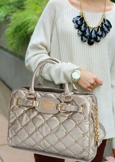 With High Quality And Unique Design, Michael Kors Stud Quilted Large Grey Totes Are Your Favorite. Just Come To Our Michael Kors Stud Quilted Large Grey Totes Online Store To Buy. I Love Fashion, Gothic Fashion, Passion For Fashion, Vintage Fashion, Womens Fashion, Winter Fashion, Love Couture, Fashion Designer, Designer Bags