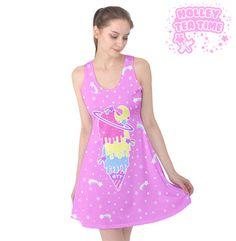 ✨ Cosmic Ice Cream Pink Sleeveless Skater Dress ✨ Everyday Cutie Sale ✨ Made To Order ✧ Fairy kei ✧ Decora kei ✧ Uchuu kei ✧ Harajuku Fashion
