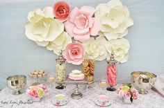 Paper Flowers Wedding Baby Shower Backdrop by FloresDePapelByAngie