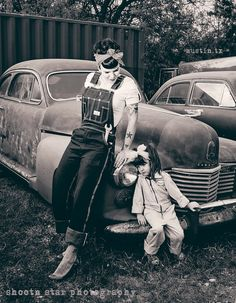 i love this! Retro Mechanic Mom and Daughter shoot.  French & I fixing up the house