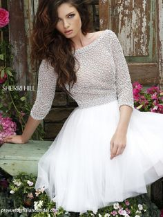 Informal wedding dress. Second wedding dress. Wedding reception dress. Sherri Hill 11310. Short white dress with beading and pearls.