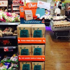 The new look Obeo FSDU in a SuperValu store in Ireland Free Recycle, Food Waste, Ireland, Recycling, Retail, Display, Store, Tent, Billboard