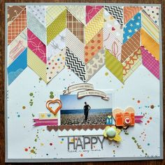 """Happy"" by PaigeEvans @ Studio Calico Studio Calico, Album Scrapbook, Scrapbook Page Layouts, Scrapbook Photos, American Crafts, Scrapbook Paper Crafts, Paper Crafting, Layout Inspiration, Making Ideas"