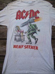 Vintage AC DC Heat Seeker 1988 Tour Concert Shirt L