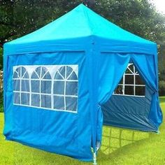 Quictent Silvox¦? Waterproof 8x8' EZ Pop Up Canopy Gazebo Party Tent Light Blue Portable Pyramid-roofed Style *** Details can be found by clicking on the image.