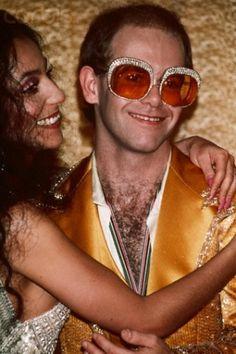 Cher and Elton John at Studio 54 circa Glam Rock, Rock Chic, Disco Party, Diana Ross, Hard Rock, Rock And Roll, Mode Disco, Disco 70s, Moda Rock