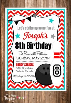 Printable Bowling Invitations Bowling Party by thepaperkingdom