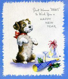 Trendy Dogs Happy New Year Card Ideas Happy New Year Dog, Vintage Happy New Year, Happy New Year Friends, Happy New Year Cards, New Year Greeting Cards, New Year Wishes, New Year Greetings, Vintage Greeting Cards, Vintage Holiday