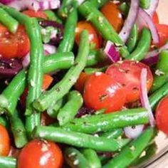 Cold Green Bean Salad- use chives instead of onions and add some shredded parm