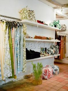 Interior of a shop selling womens fashion clothes