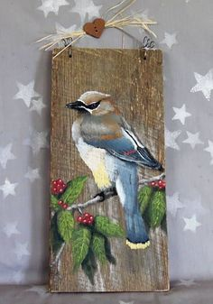 Your place to buy and sell all things handmade - Handsome Bernard, the waxwing, sits on a branch chock full of tasty berries. He just arrived, and i - Pallet Painting, Faux Painting, Pallet Art, Tole Painting, Painting & Drawing, Painted Rocks, Hand Painted, Driftwood Art, Bird Art