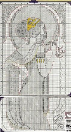 0 point de croix art nouveau mucha lady - cross stitch part 2