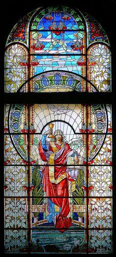 stained glass window Barcelona - Diagonal 502 o 1 by Arnim Schulz, via Flickr
