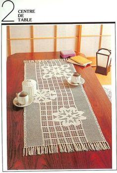 1000 Mailles № 29 small — Yandex. Crochet Table Runner, Table Runner Pattern, Crochet Tablecloth, Crochet Doilies, Crochet Art, Crochet Home, Crochet Designs, Crochet Patterns, Fillet Crochet