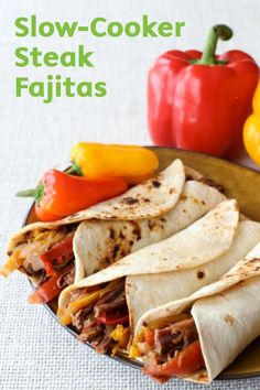 Slow-Cooker Steak Fajitas are a super easy way to make authentic-tasting fajitas with only a few minutes of prep time! Let the delicious flavors of onion, red peppers, Worcestershire sauce, teriyaki sauce, and steak simmer together for 6-8 hours while you are at work with this simple and delicious dinner recipe.