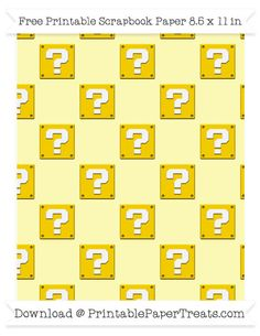 Free Pastel Light Yellow Large Mario Question Box Pattern Paper - Super Mario Bros