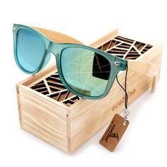 """Transparent Teal Frame"" Polarized Bamboo Wood Legged Sunglasses (Green, Blue, Yellow, & Silver Lenses)"