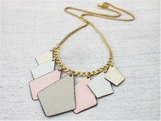 Shlomit Ofir Colorblocked Triangles Necklace