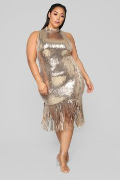 Disco Nights Sequin Dress - Gold – Fashion Nova Available in Gold Sleeveless Lined Sequins Back Zipper Length Based on Size Small Stretch Polyester Gold Plus Size Dresses, Plus Size Cocktail Dresses, Plus Size Outfits, Night Outfits, Dress Outfits, Fashion Dresses, Curvy Fashion, Plus Size Fashion, Gold Fashion