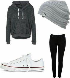 beanie hat, converse, white