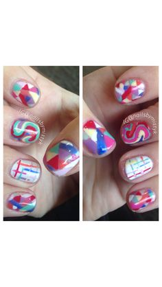Shellac nail art. Colorful nail design