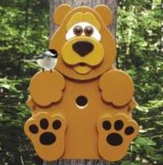 19-W3367 - Bear Cub Birdhouse Woodworking Plan