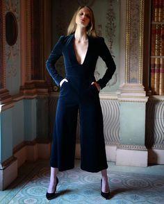 temperleylondon A dramatic alternative to the evening dress, the long sleeved Opus Velvet Jumpsuit in elegant French navy.