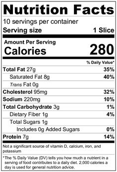 Keto Cheesecake Nutrition Label