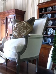 Antique French ecclesiastical pillow by E Alexander Designs French Country House, Country Homes, French Chairs, Antique Chairs, Cushions, Pillows, Wingback Chair, French Antiques, Linens