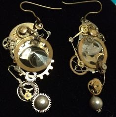 My Steampunk inspired earrings. i hope they go to a good home