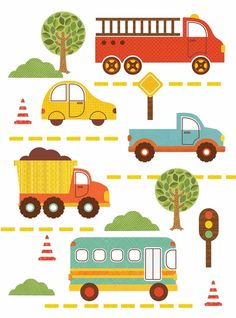 Cars and trucks wall decals in great colors