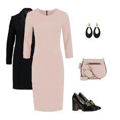 combineer je nude jurk heel simpel met chique zwart! Work Casual, Selena, Tweed, Gucci, Nude, Heels, Polyvore, Bags, Dresses