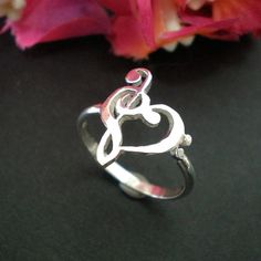 Music Love Heart Ring Treble Clef Bass clef Ring by yhtanaff