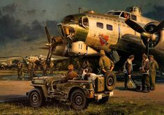 Flying Fortress and Jeep Ww2 Aircraft, Military Aircraft, Military Art, Military History, Aviation Art, Aviation Tattoo, Action Pictures, Aircraft Painting, Ww2 Planes
