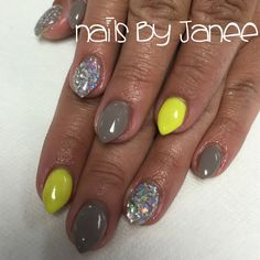 Grey, yellow and glitter nails by Janee Tittensor @awildhairsalonreno