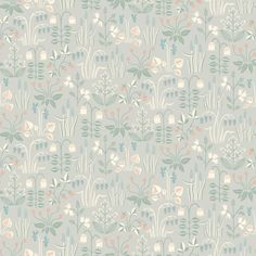 Papier peint Strawberry Field gris - Collection In Bloom - Boråstapeter Field Wallpaper, Plant Wallpaper, Botanical Wallpaper, Wood Wallpaper, Wallpaper Roll, Bathroom Wallpaper, Quirky Wallpaper, Cottage Wallpaper, Grey And Green Wallpaper