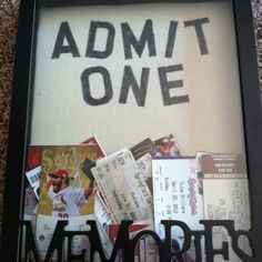 """The memory box I got for all my ticket stubs. I added the """"admit one"""" with stencils and sharpie"""