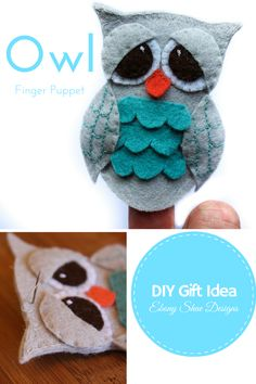 Cute little owl finger puppet. Makes a wonderful hand made gift, or party favor. DIY sewing pattern, by Ebony Shae Designs